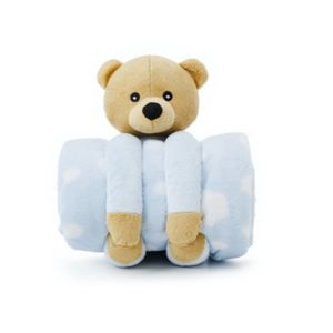 Cobertor E Pelúcia Teddy Bear Azul - Loani