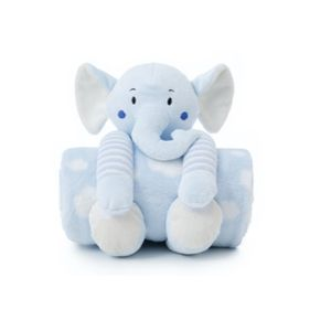 Cobertor E Pelúcia Elefantinho Azul- Loani