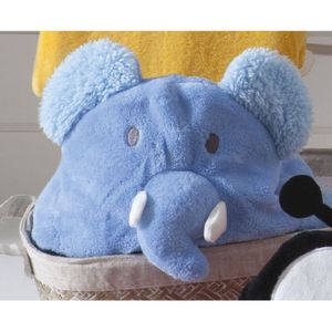 Manta de Microfibra com Capuz Elefante Azul  – Jolitex
