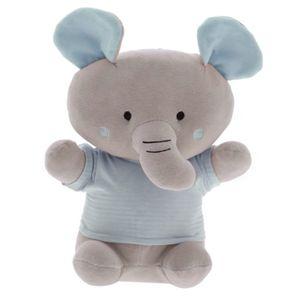 Pelúcia Elefante Camiseta Listrada Azul - Zip